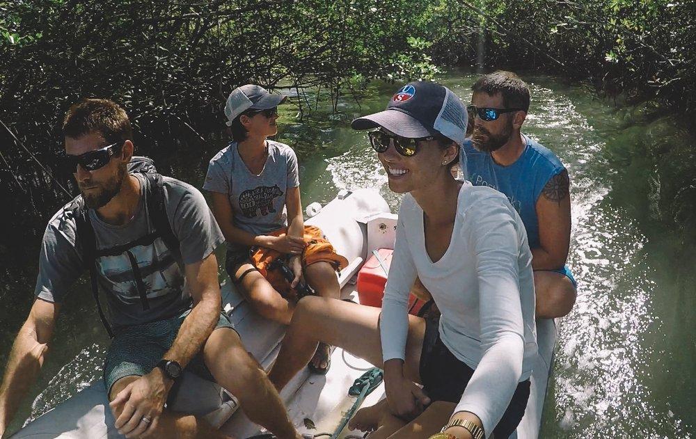 Estuary tour in search of crocodiles.