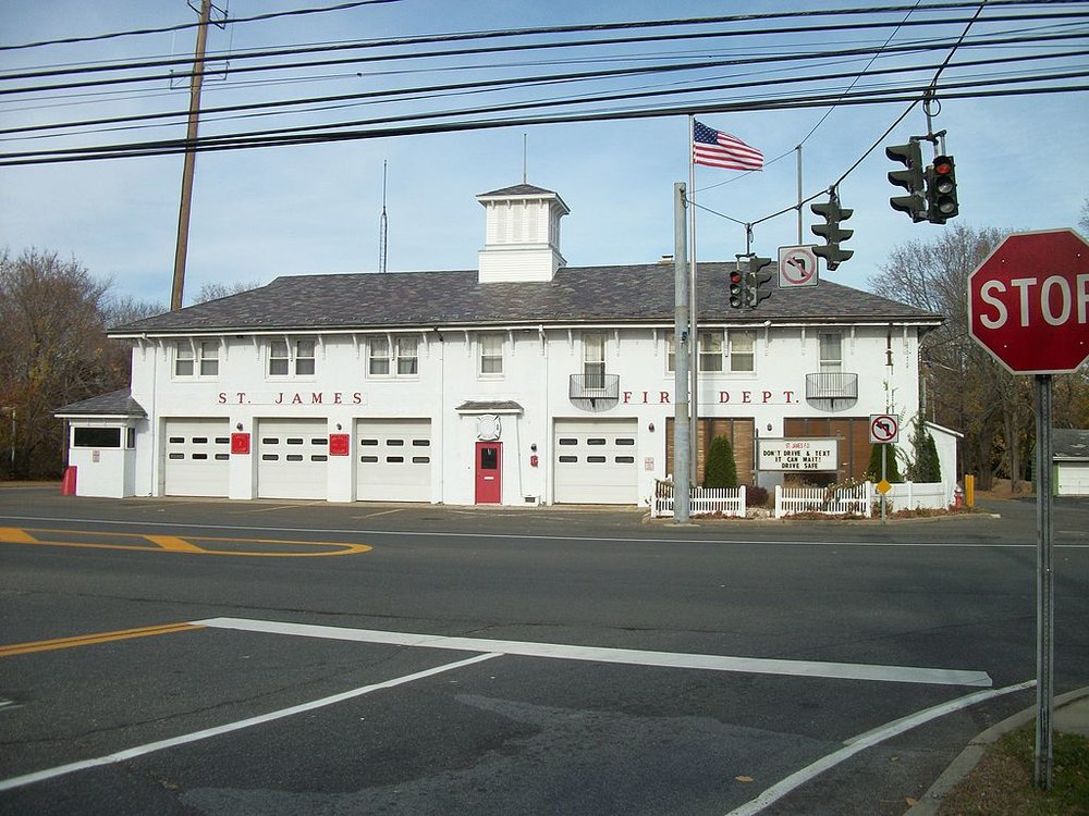 The St. James Fire Department, within the heart of historic Saint James, New York.