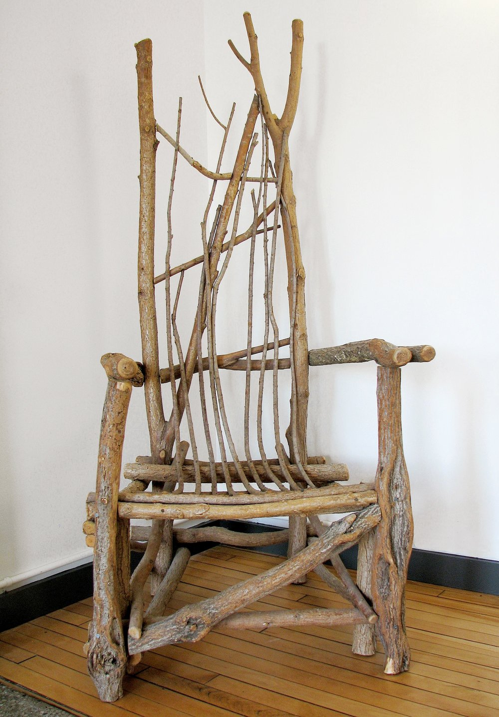 Twig chair.  Made at the Outsiders' Show of the Adirondack Furniture show with teacher, Bim Willow—Media: willow branches