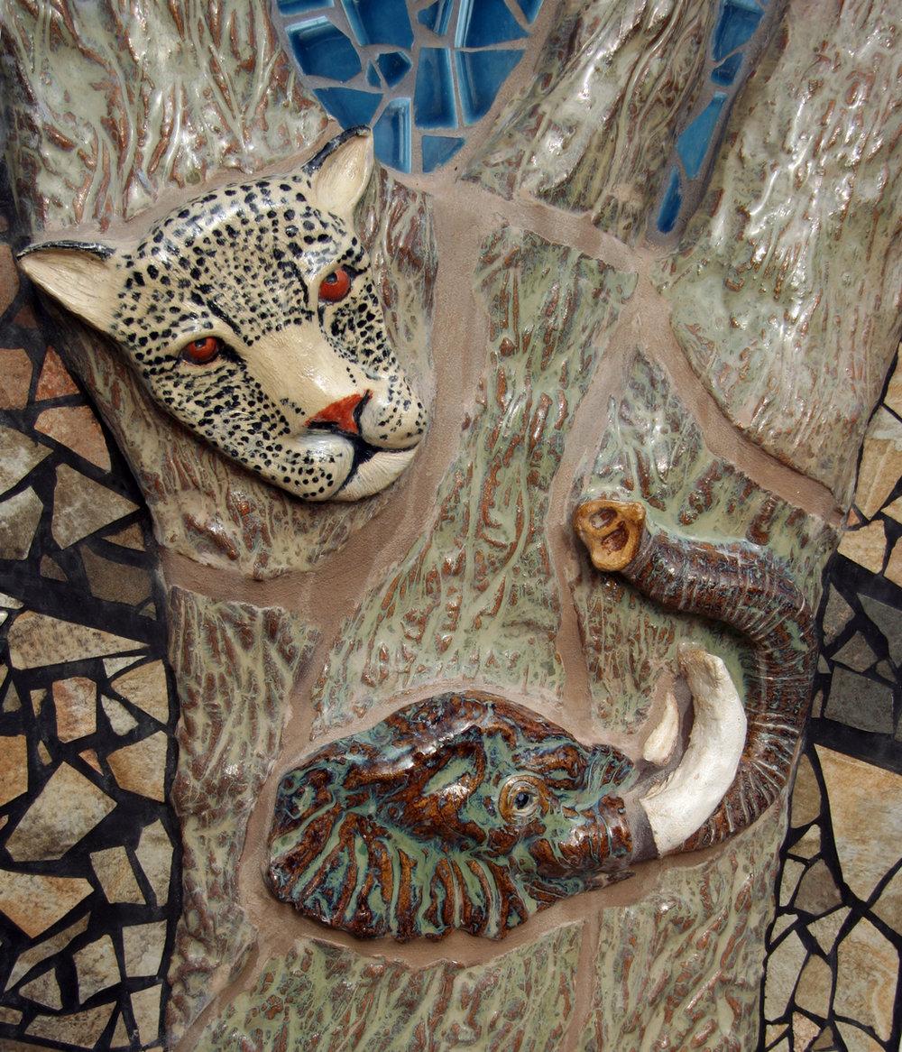 Salem Peace Mosaic, leopard  and elephant