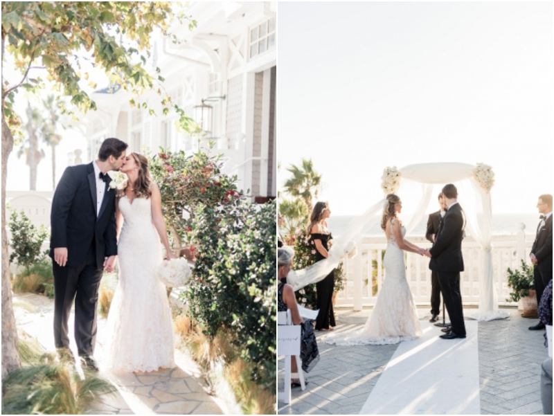 romantic portraits of bride and groom at Shutters on the beach
