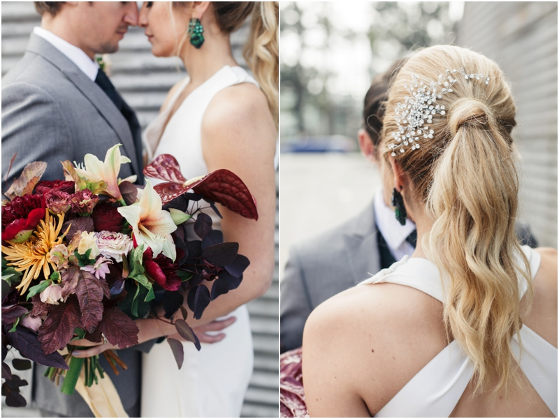 intricate bridal hairpiece and gorgeous bouquet
