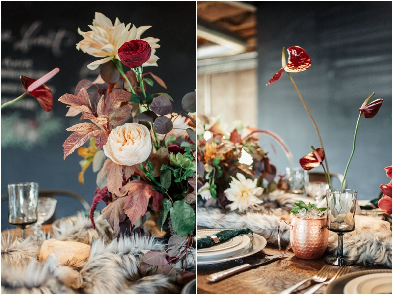 luxurious wedding tablescape with faux fur and velvet