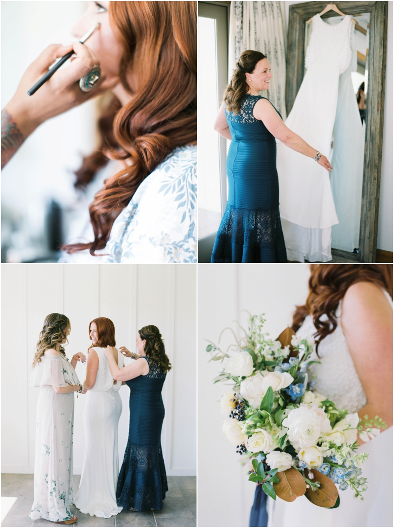 Details photos of redhead bride getting ready on her wedding day