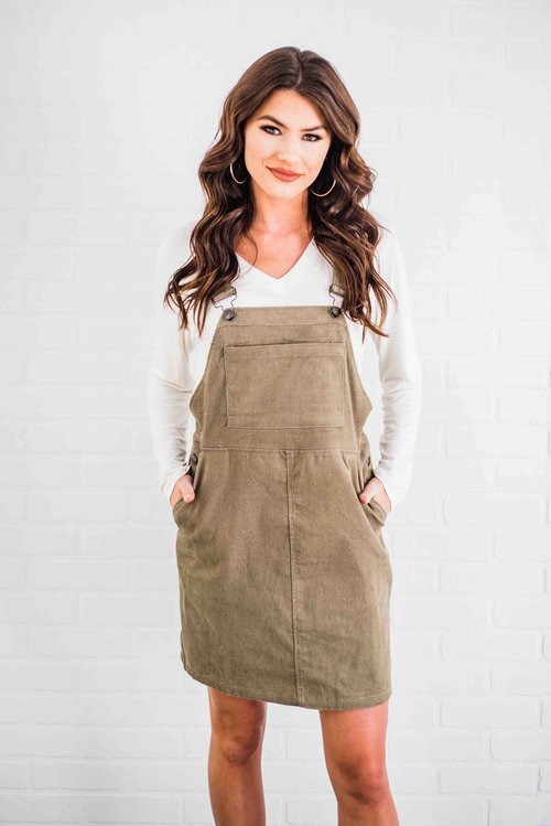 4186765eae5 The Olivia Overall Dress- Olive — The Gilded Garment