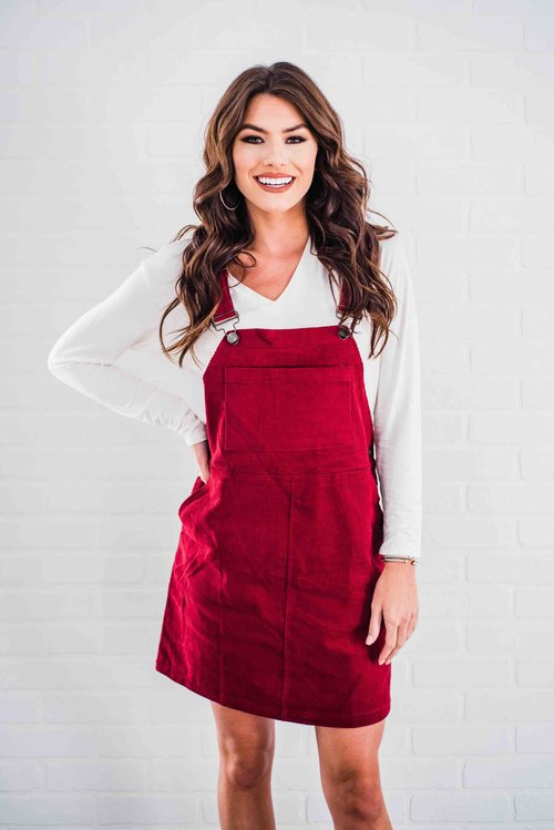 3ee829228db The Olivia Overall Dress- Cranberry ...