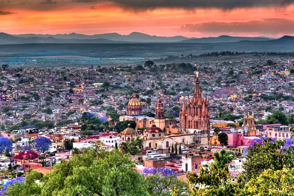 San miguel de allende - towers of pink limestone and city streets filled with colonial architecture