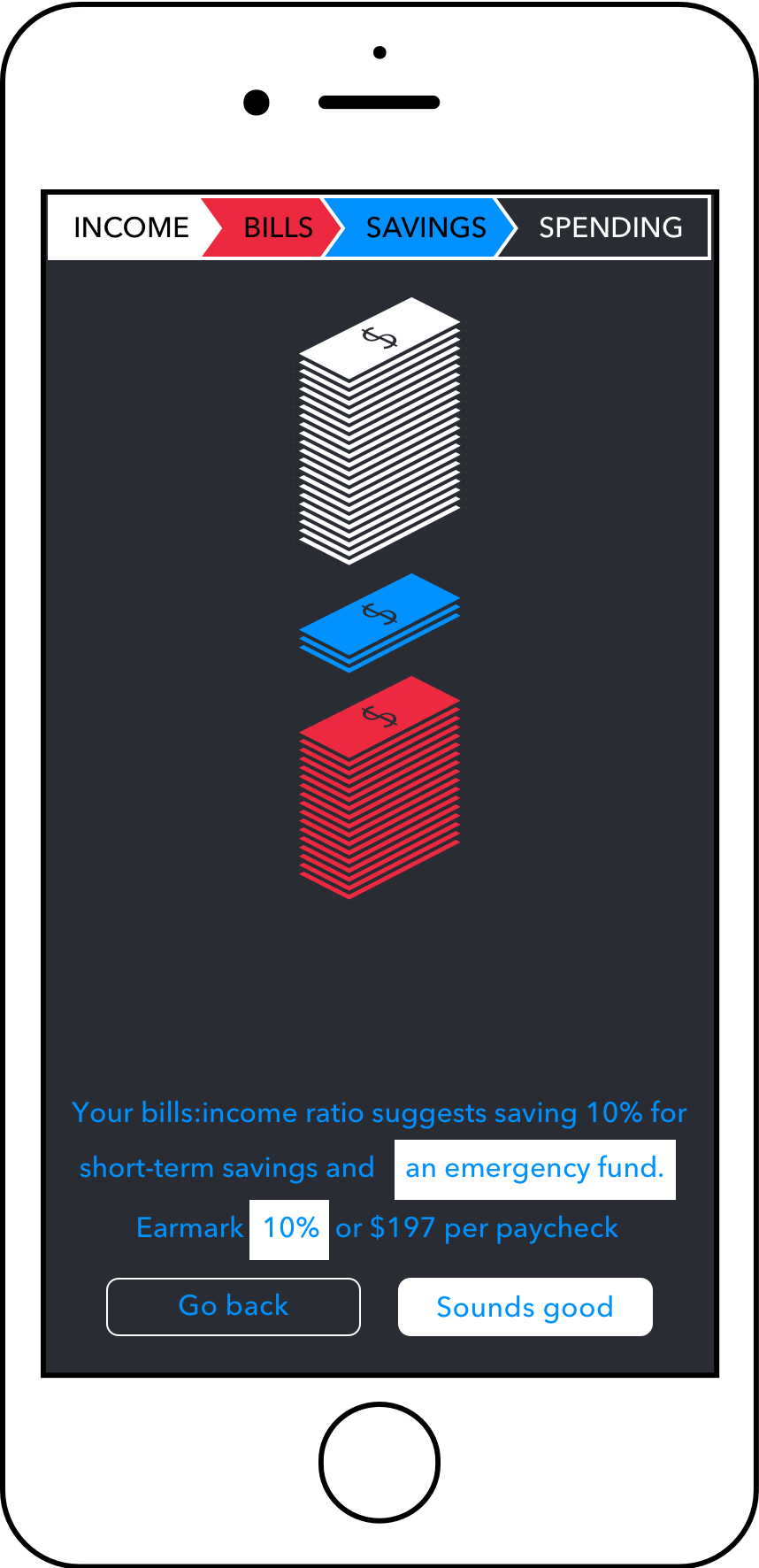 Step 3: Automatically determine a savings percentage - Based on your Bills-to-Income Ratio, we determine a percentage of each paycheck you can comfortably save towards a savings goal.