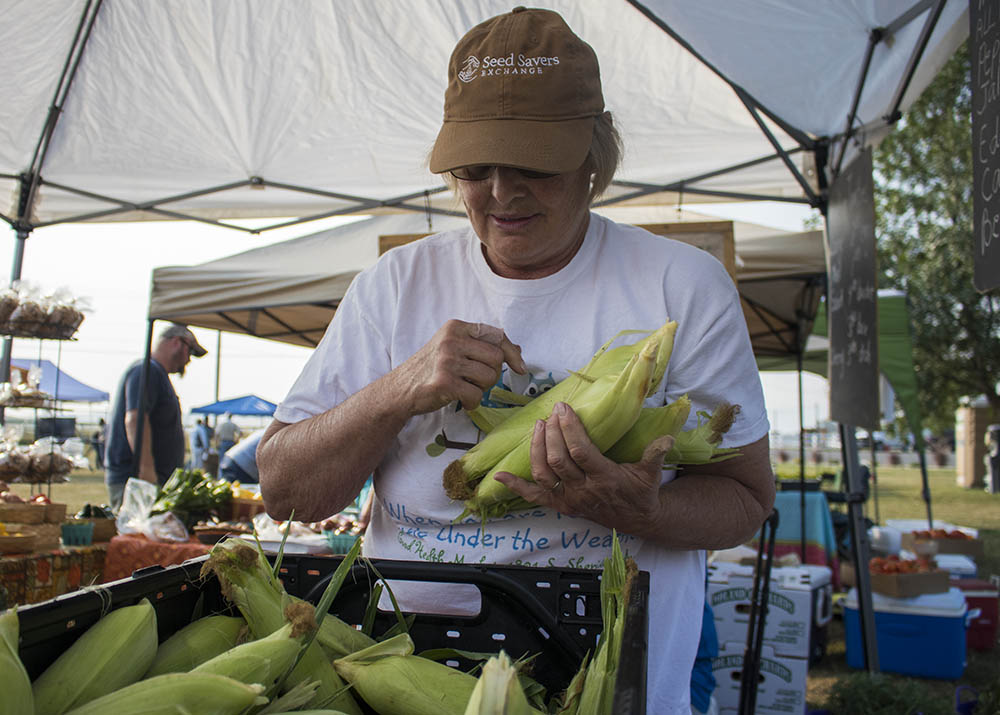 Rachel gathers corn for a customer at Landon's Greenhouse Saturday Farmers Market in Sheridan, Wyoming.