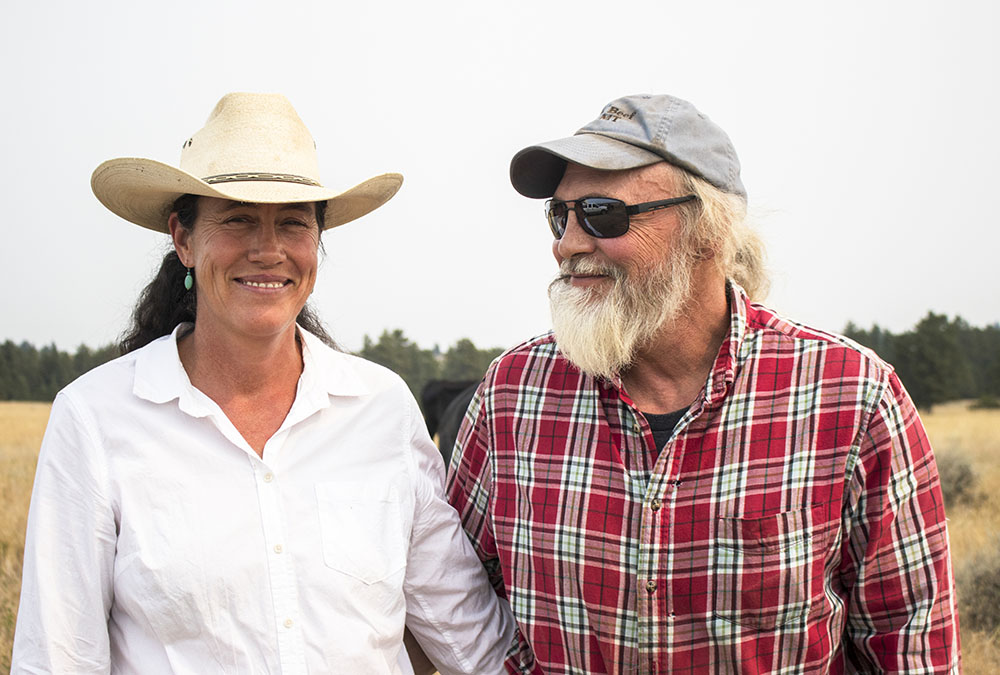 Jeanie Alderson and Terry Punt at their home in Birney, Montana.