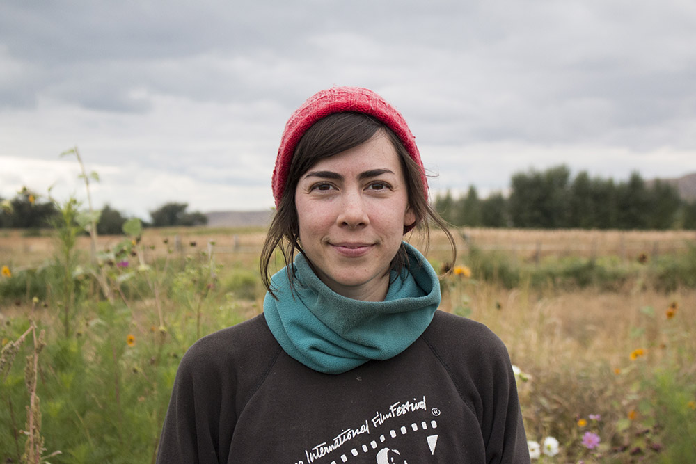 Farmhand Stephanie Rael at Peaceful Belly Farms in Boise, Idaho.