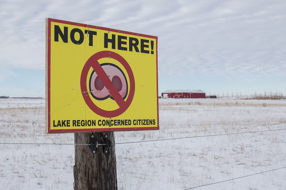 A neighboring farm to the Aasmundstad's protesting the CAFO in Pelican Lake Township.
