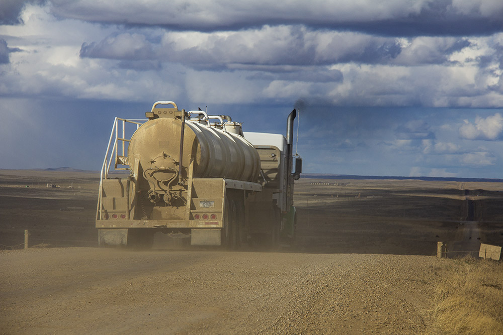 A water tanker heads to a fracking site near the Turnercrest Ranch.