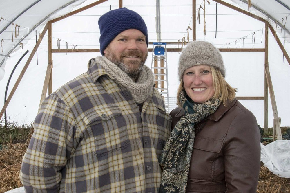 Matt and Lindy Geraets standing in their greenhouse about 20 miles east of Pierre, South Dakota.
