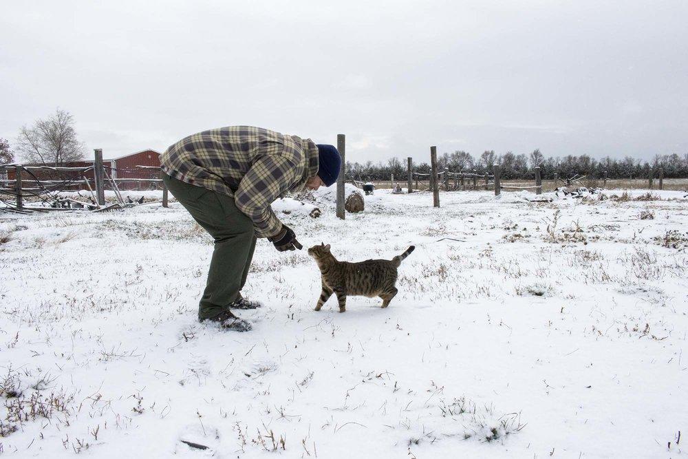 Matt Geraets and farm cat Gerald at B&G Produce, 20 miles east of Pierre, South Dakota.