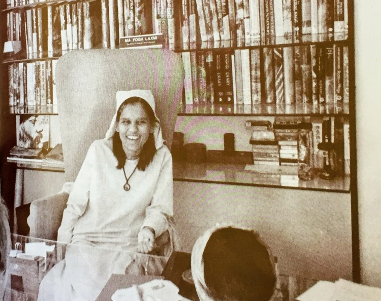 Ma Yoga Laxmi in her Office at Krishna House, Poona Ashram