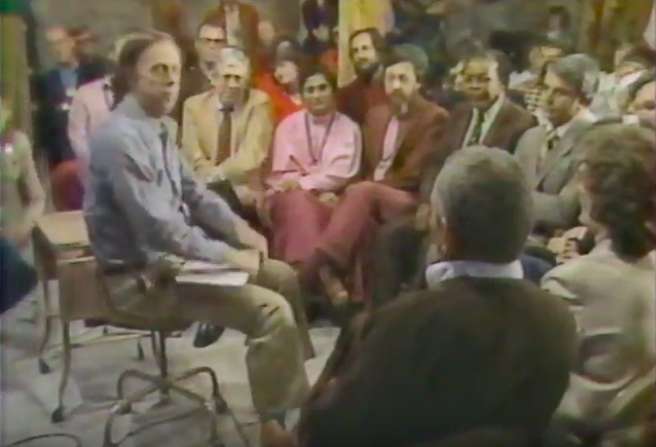 Town Hall Filming, May 1982. From Left: Host Jack Faust, Rajneeshees' Lobbyist Bob Davis, Ma anand Sheela, Jayananda, Federal Mediator John Mathis, Antelope City Attorney Keith Mabely.