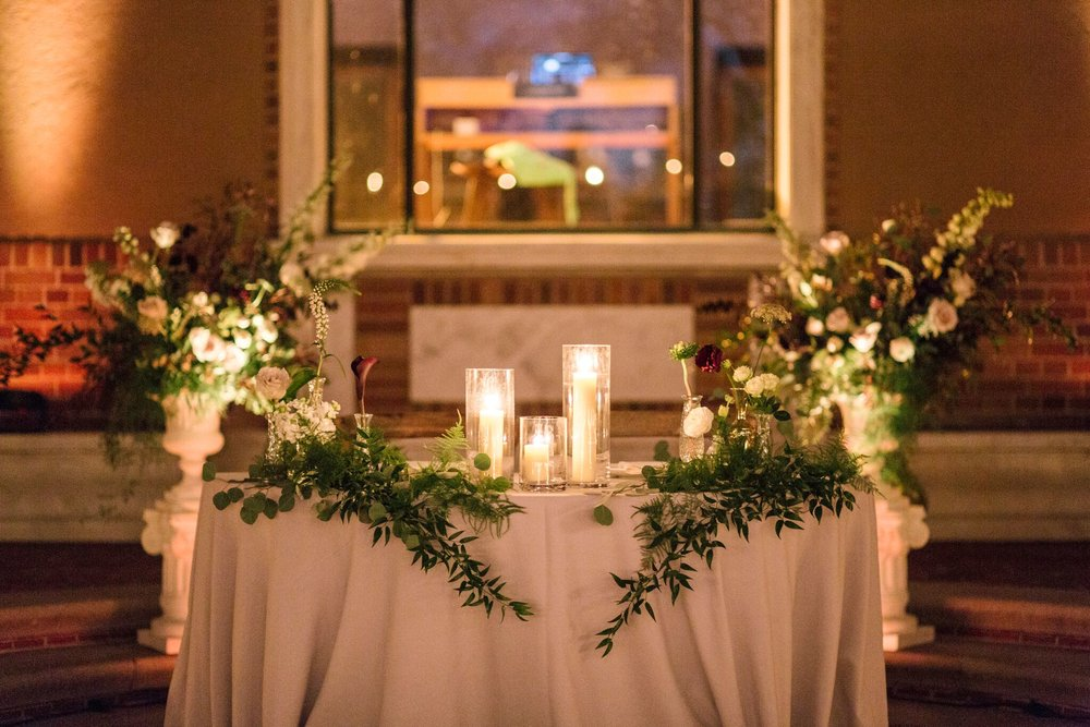 Lorie & Adam's sweetheart table at The Paramour Estate- Photo by Rainbeau Tharp