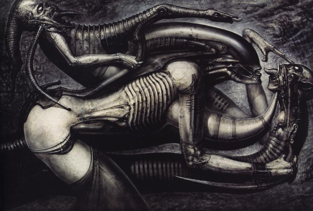 H.R. Gigers  Necronom V. Det är lätt att se inspirationen till både monstret och dekoren.