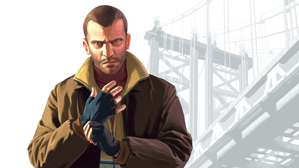 Karaktären Nico Bellic från ett ospecifiserat östeuropeiskt land i spelet  Grand Theft Auto IV