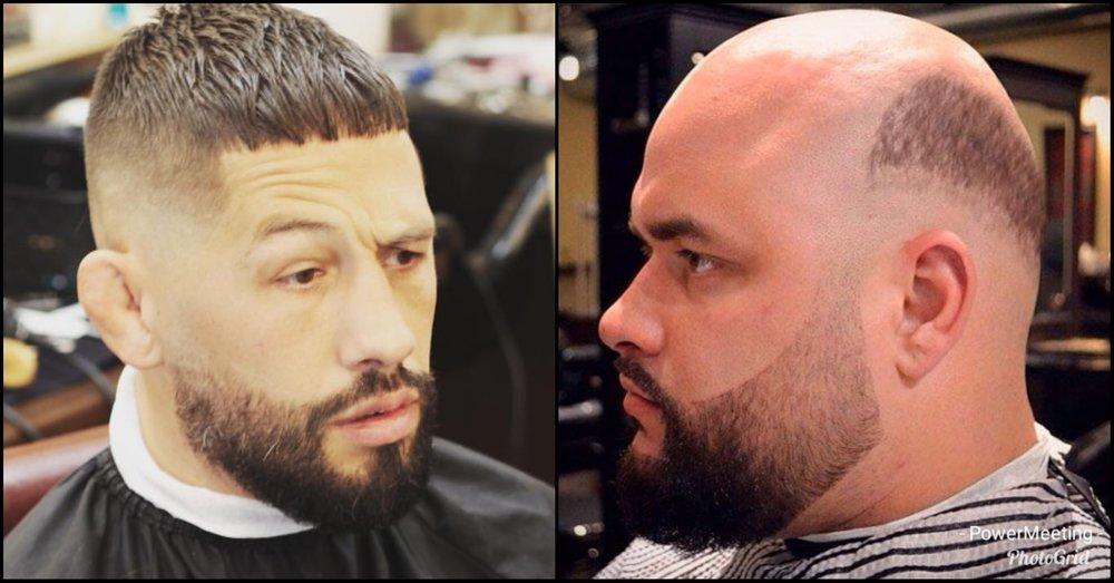 Bilden till vänster är på en lyckad fade från  Afro Söder . Den till höger googlade jag bara  Bald guy who won't give up on trying to rock a fade . Typ så såg jag ut…