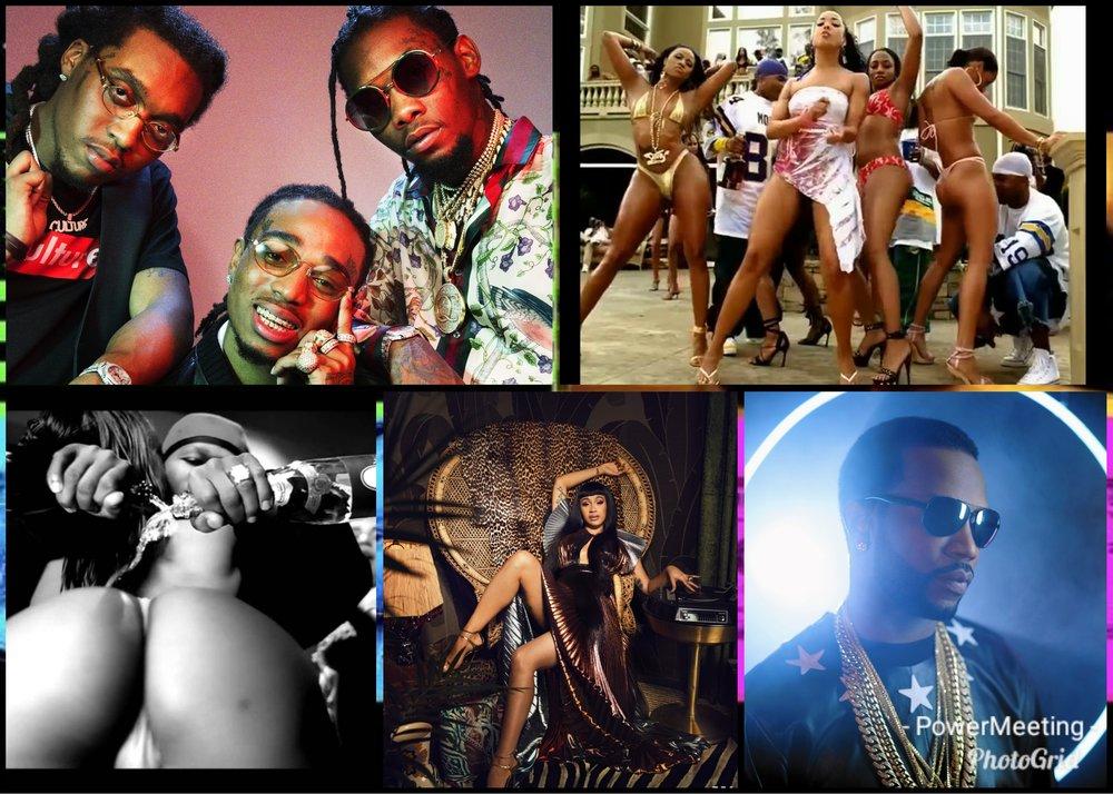 "Migos, Nellys ""Tip Drill""-video, 50 Cents ""Disco Inferno""-video, Cardi B och Juicy J."