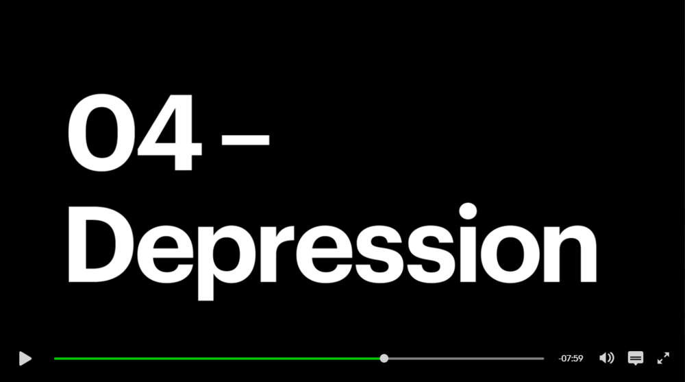 """My face follows the word """"Depression"""" on the show"""