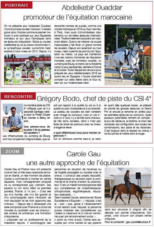 Magazine du Jumping International**** de Bourg en Bresse.