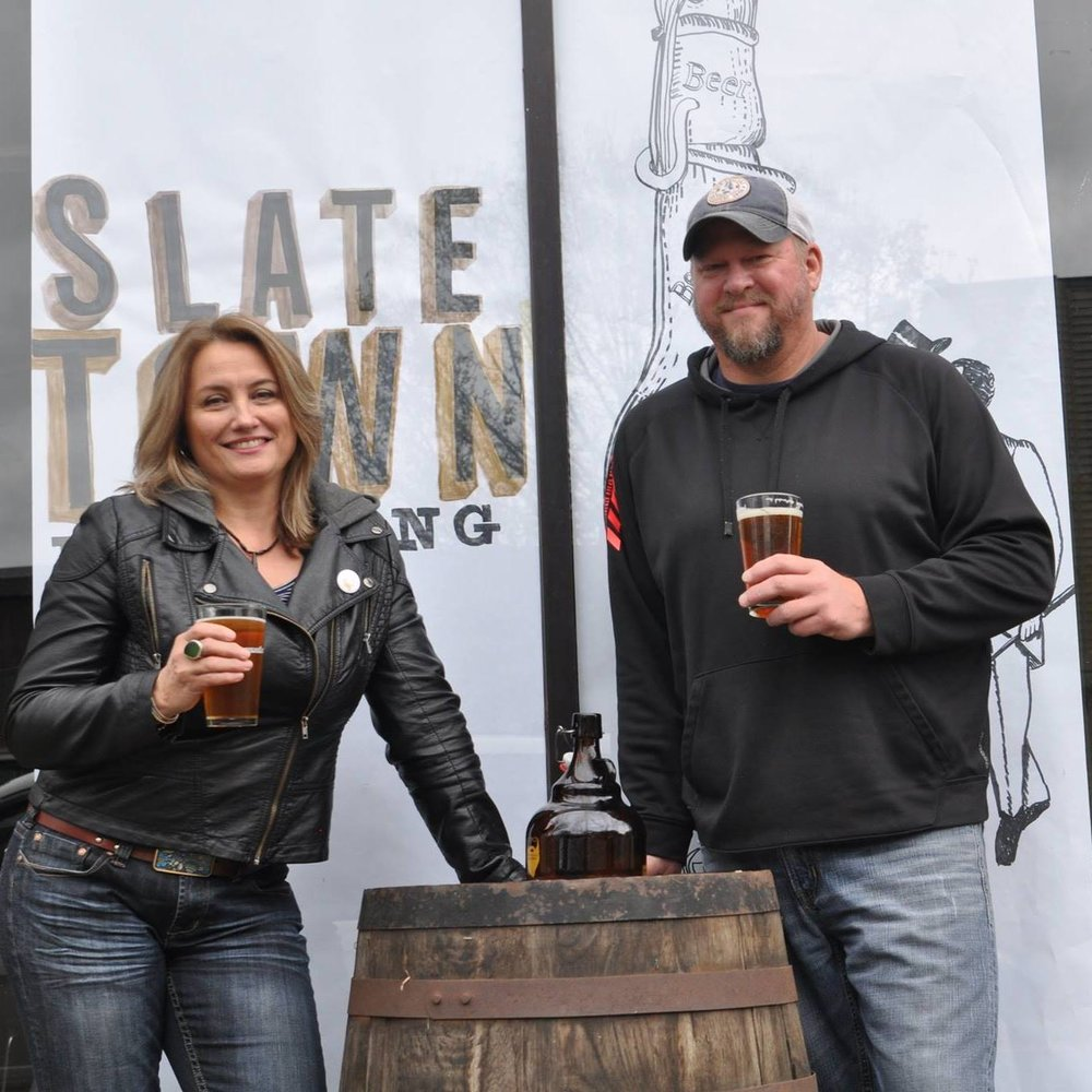 Susan Knapp and Glenn Wetherell.   Co-owners of Slate Town Brewing Company  Pictured, as they began work on the brewery space, in May 2017.