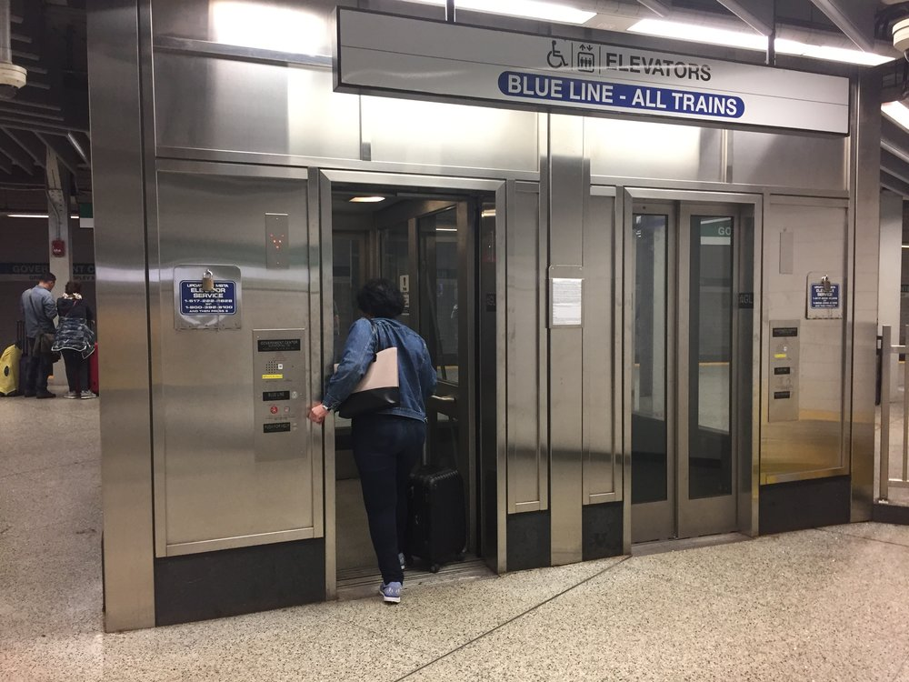 Side-by-side redundant elevators at Government Center, which allow access to the Blue Line platforms even when one elevator is unavailable.
