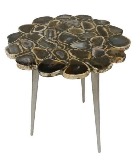 Flower Cut Black Agate Table