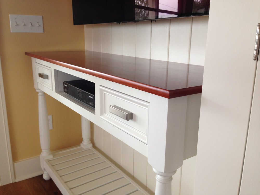 Cottage Fireplace with Cherry Mantel, and TV Console 3.jpg