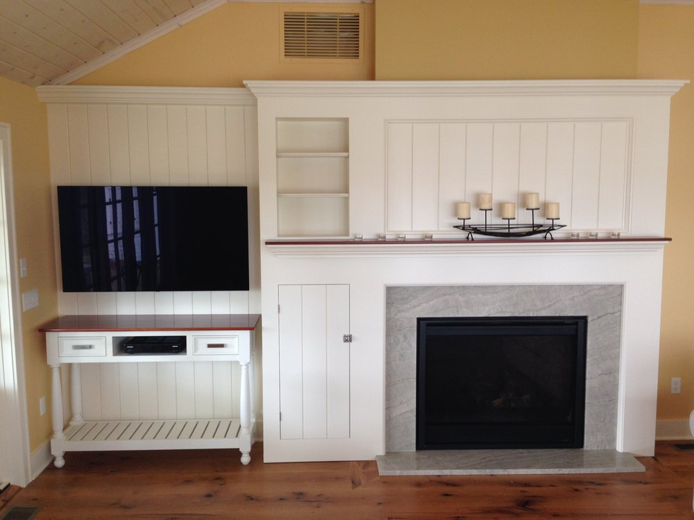 Cottage Fireplace with Cherry Mantel, and TV Console 5.jpg
