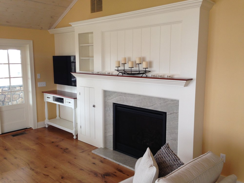 Cottage Fireplace with Cherry Mantel, and TV Console 11.jpg