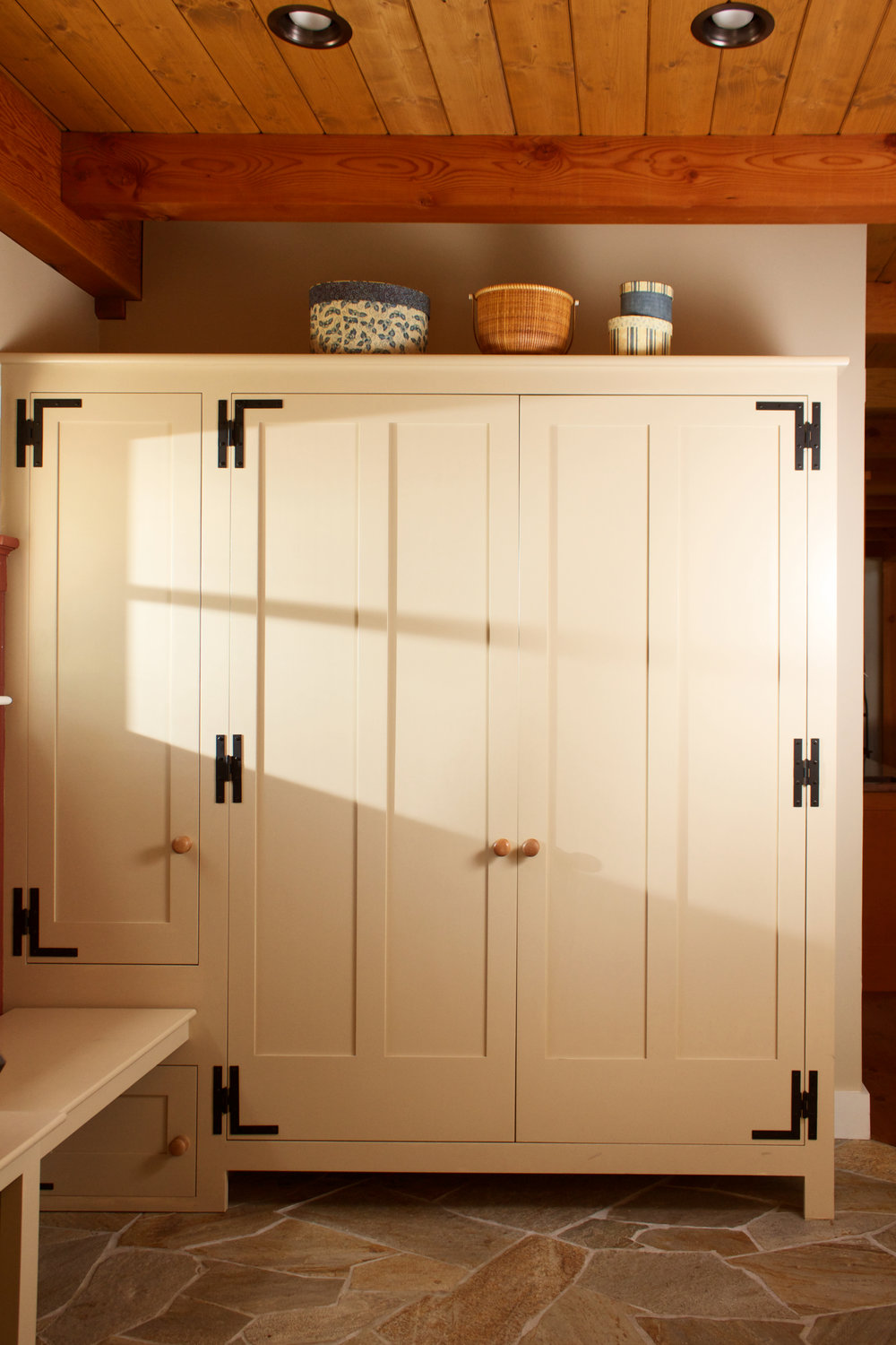 Farmhouse Mudroom with Recycle Center, Closets, Benches, and Hanging Pegs 2.jpg
