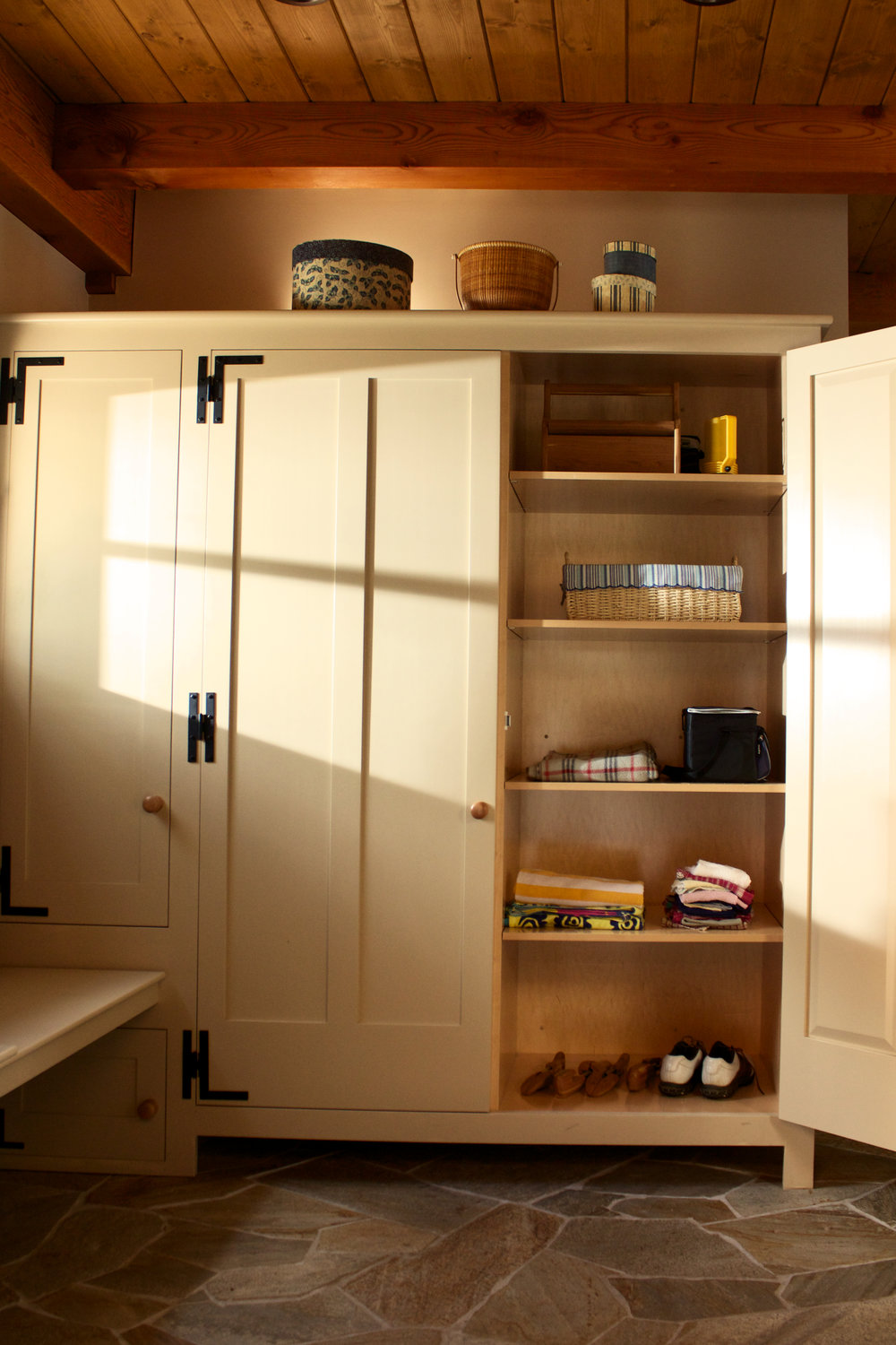 Farmhouse Mudroom with Recycle Center, Closets, Benches, and Hanging Pegs 7.jpg