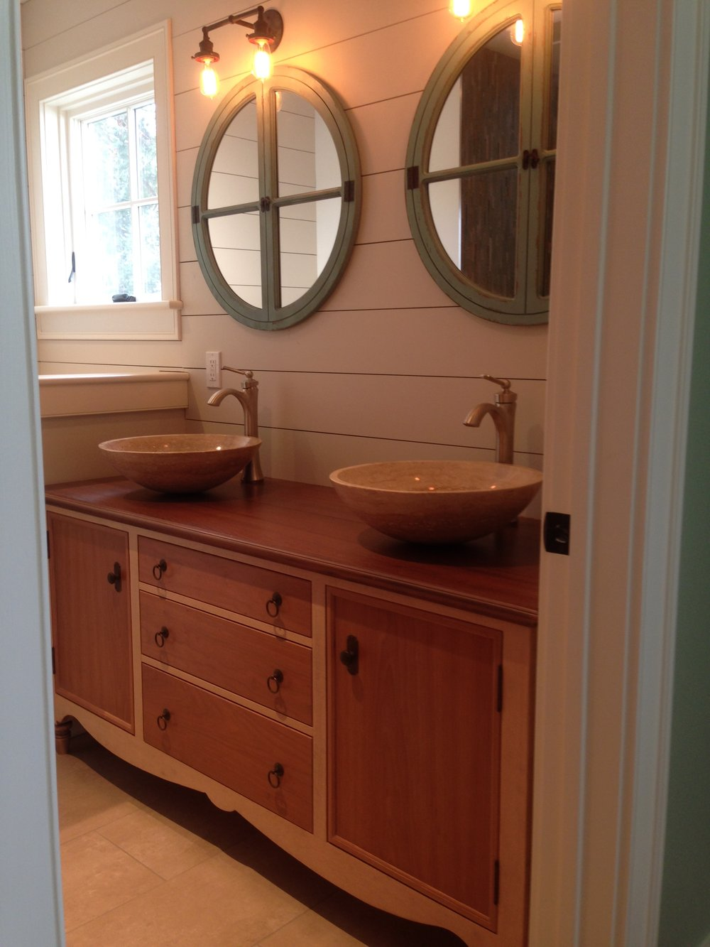 Master Bath Vanity of Maple and Cherry, with Mahogany Top, and Travertine Vessel Sinks 1.jpg