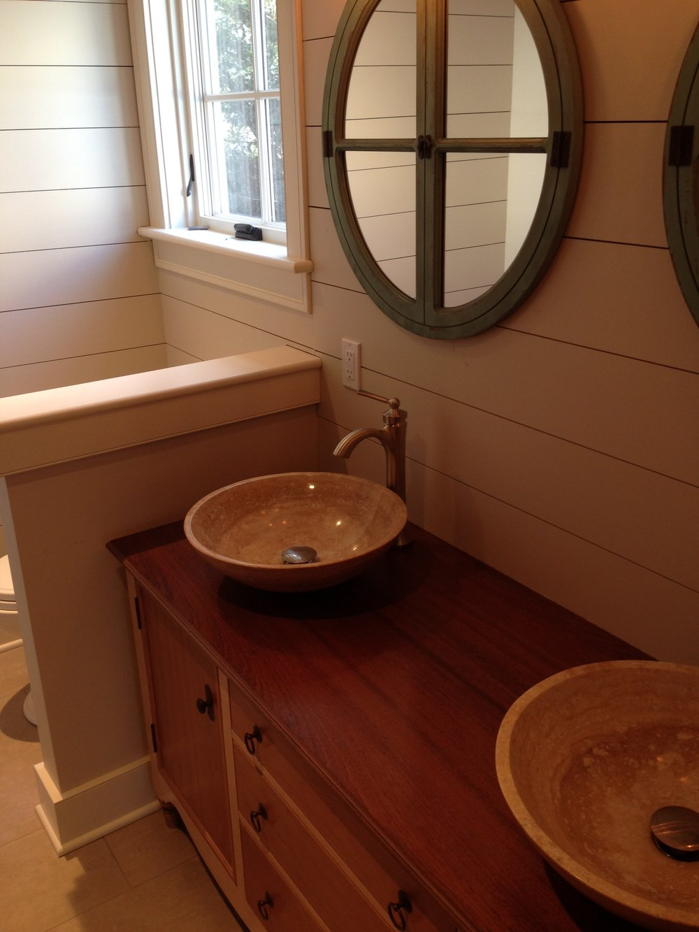 Master Bath Vanity of Maple and Cherry, with Mahogany Top, and Travertine Vessel Sinks 7.jpg