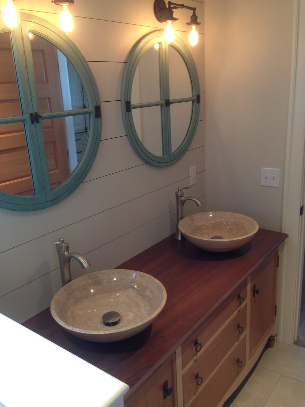 Master Bath Vanity of Maple and Cherry, with Mahogany Top, and Travertine Vessel Sinks 8.jpg