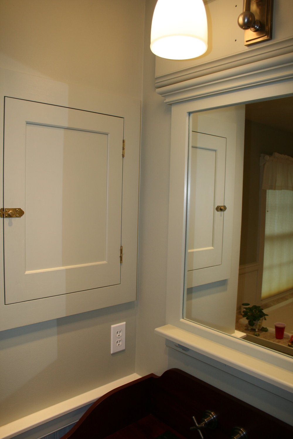 Shaker Vanity with Mahogany Top, Full Length Mirror, and Built-in Medicine Cabinets 4.jpg