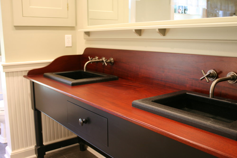 Shaker Vanity with Mahogany Top, Full Length Mirror, and Built-in Medicine Cabinets 7.jpg
