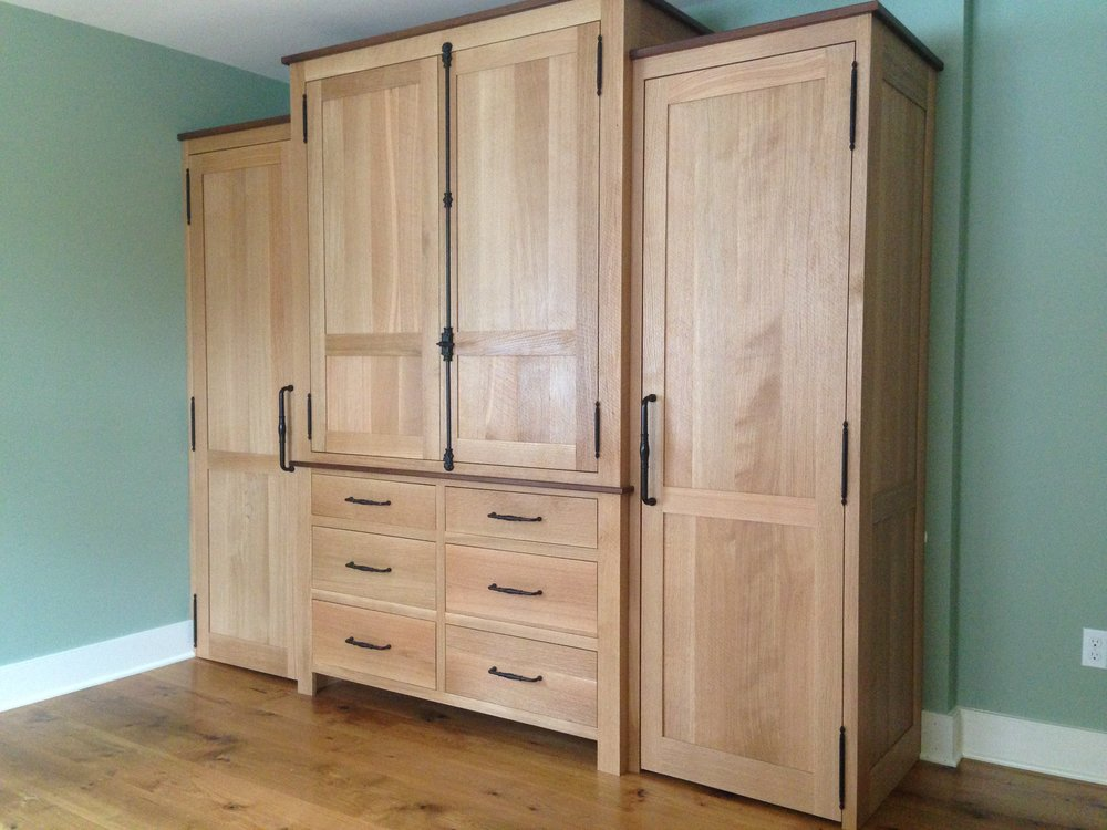 Rough Sawn Oak His:Hers Wardrobe with Walnut Accents 1.jpg