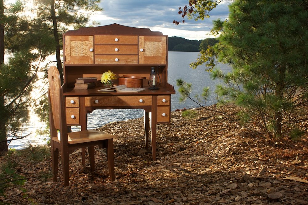 Shaker Style Walnut and Quilted Maple O ffice Suite  1.jpg