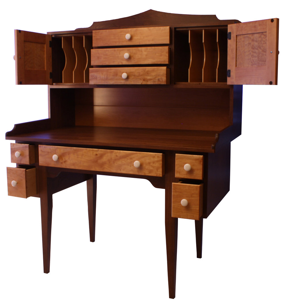 Shaker Style Walnut and Quilted Maple O ffice Suite  2.jpg