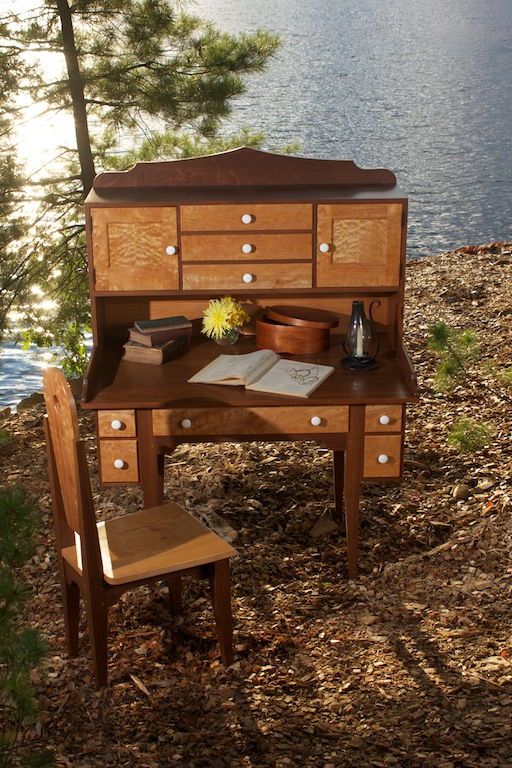 Shaker Style Walnut and Quilted Maple O ffice Suite 15.jpg