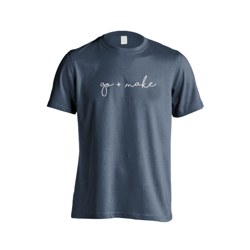 GO + MAKE Short Sleeve T-shirt    $15.00   Our go + make shirt is printed on a steel blue Bella Canvas Tri-Blend shirt. The shirt is a pre-shrunk cotton, polyester, rayon tai-blend material. They tend to run small so if you are deciding between sizes it may be a good idea to size up.