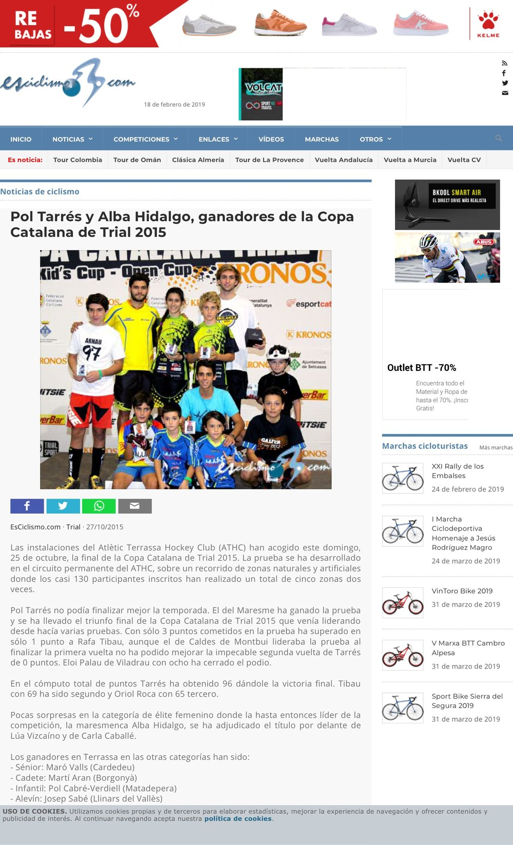 2015-10-27 Pol Tarrés y Alba Hidalgo, ganadores de la Copa Catalana de Trial 2015 2.jpeg