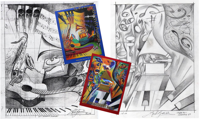 Sketches for the 41st and 43rd Grammy Awards official art.