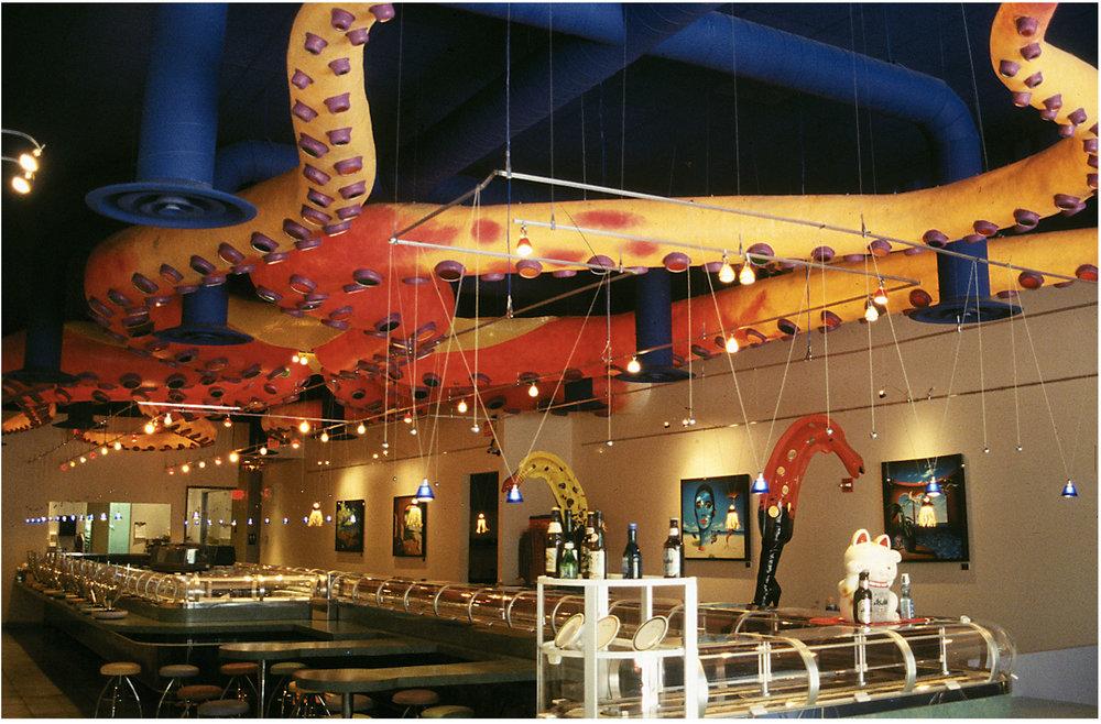 Sushi Doraku, Miami Beach. Custom built 1800 square foot Octopus by Rick Garcia and Bruce Hanners.