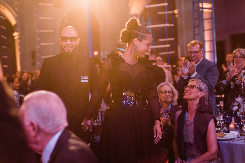 The Brooklyn Artists Ball at Brooklyn Museum 2017. Swizz Beats and Alicia Keys recieve their honorary award